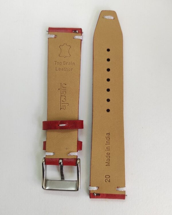 Red Ibiza Italian Leather Strap with quick release spring bars