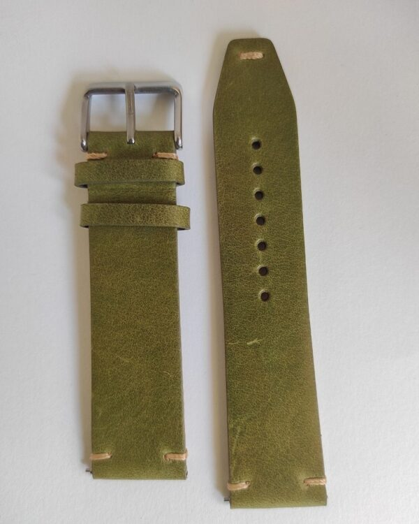Green Ibiza Italian Leather Strap with quick release spring bars