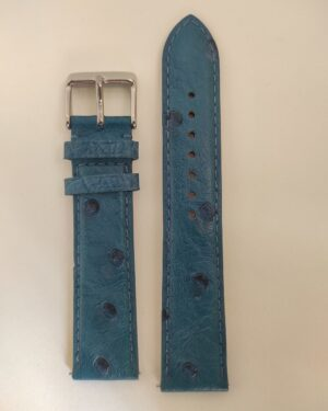 Blue ostrich leather strap with quick release spring bars