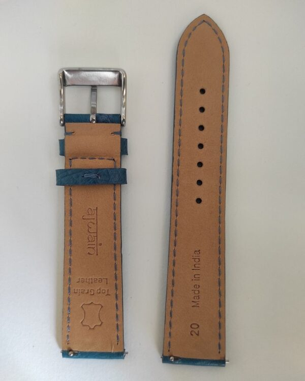 Blue ostrich leather strap with quick release spring bars back