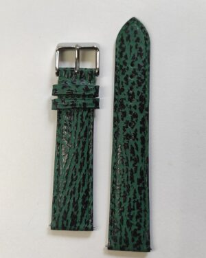 Green Sharkskin leather strap with quick release spring bars tapered