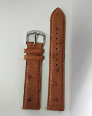 Tan ostrich leather strap with quick release spring bars tapered