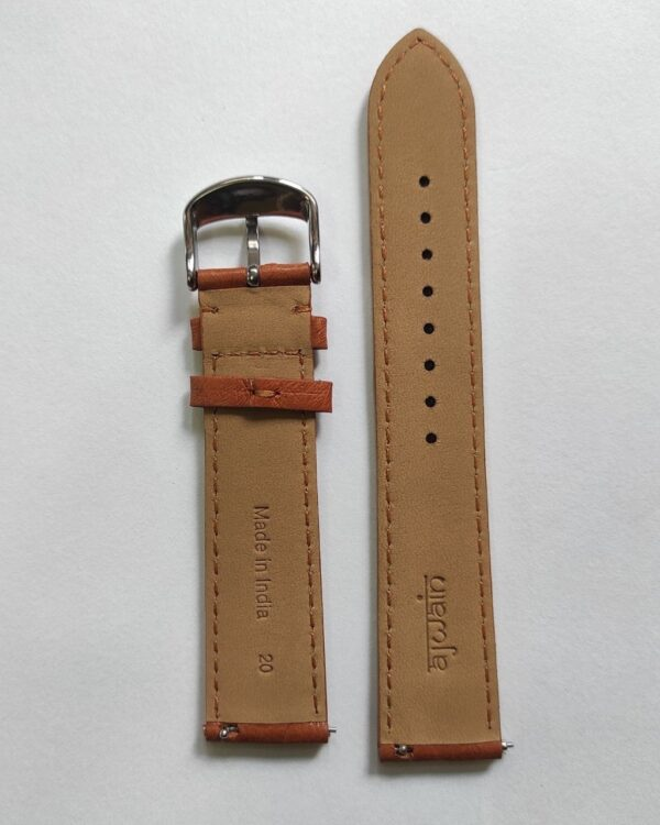 Tan ostrich leather strap with quick release spring bars tapered back