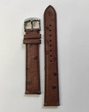 Brown Italian Leather strap with quick release spring bars parallel.