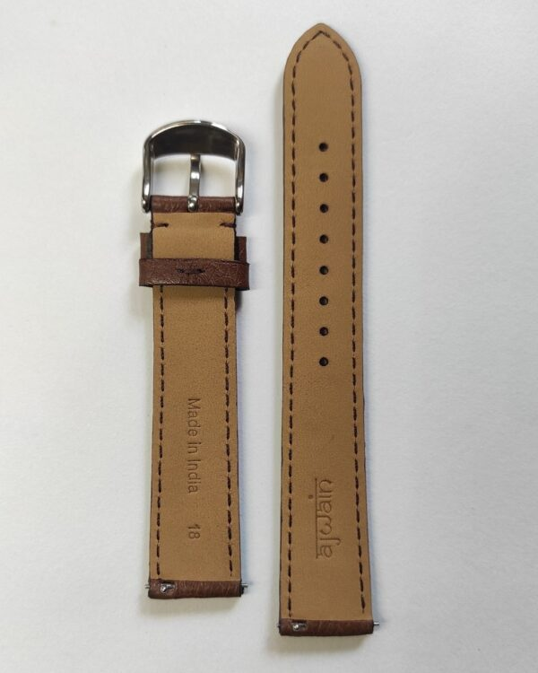 Brown Italian Leather strap with quick release spring bars back .