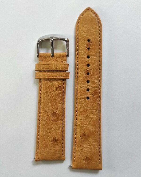 Light Tan ostrich leather strap with quick release spring bars