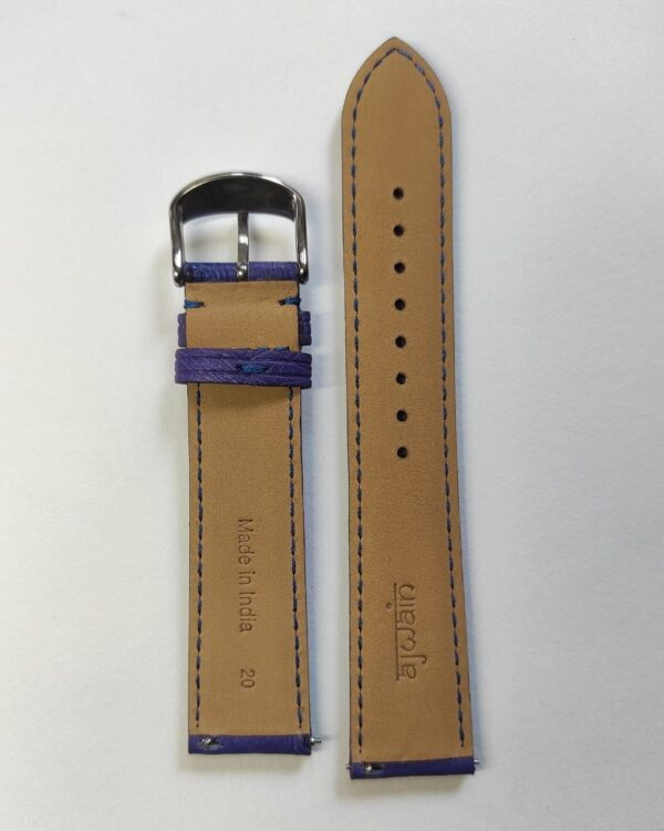 Violet ostrich leather strap with quick release spring bars back