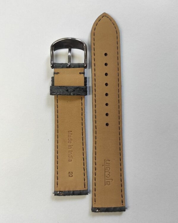 Grey Sharkskin leather strap with quick release spring bars back