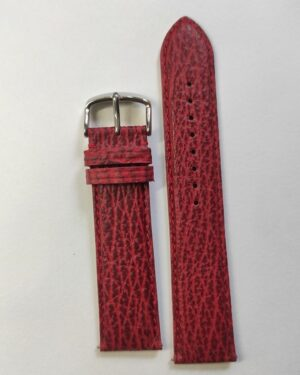Red Sharkskin leather strap with quick release spring bars tapered