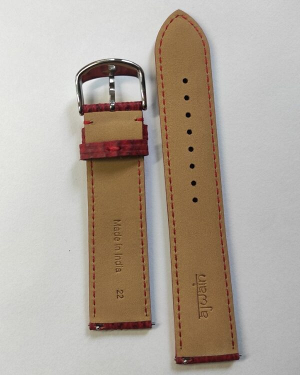 Red Sharkskin leather strap with quick release spring bars tapered back