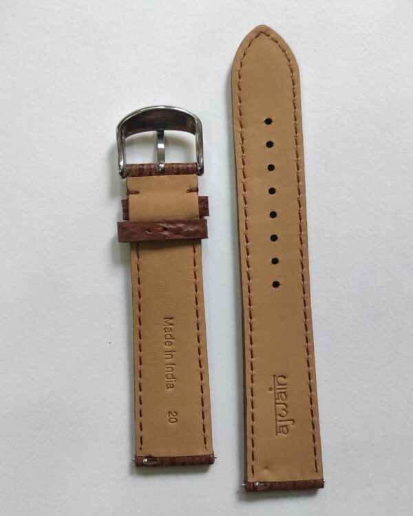 Brown Sharkskin leather strap with quick release spring bars back