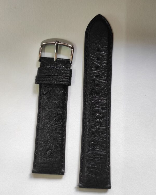 Black ostrich leather strap with quick release spring bars