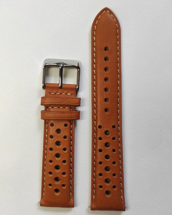 Tan racer in Genuine Italian Leather with quick release spring bars .