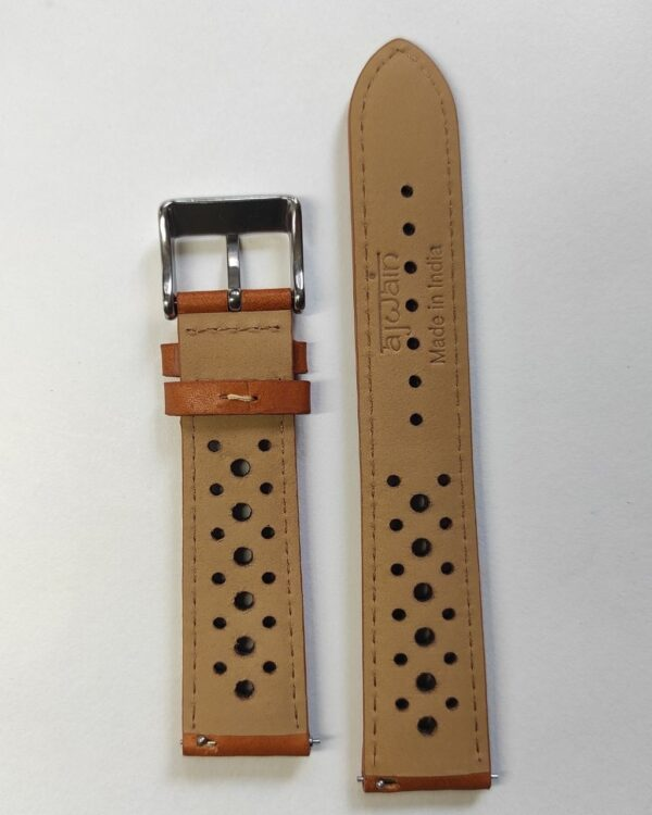 Tan racer in Genuine Italian Leather with quick release spring bars back.