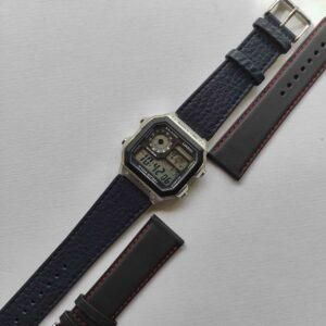 Navy Blue fitted leather strap for the casio AE1200